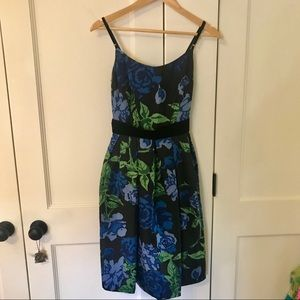Muse Black, Green, Blue Floral Cocktail Dress